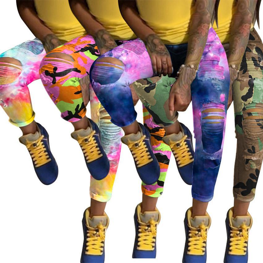 Плюс размер 3XL Женские джинсы стрейч Выгорание случайные джинсы Tie Dye полнометражных штаны случайные рваные отверстия джинсовые леггинсы зимой одежды осень 3641