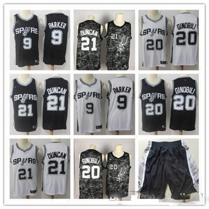 Para hombre de San AntonioEspuelasNBA David Baloncesto Jersey Pantalones cortos de baloncesto Parker Robinson 50 Tim Duncan 21 Manu Ginóbili, Tony 20 9