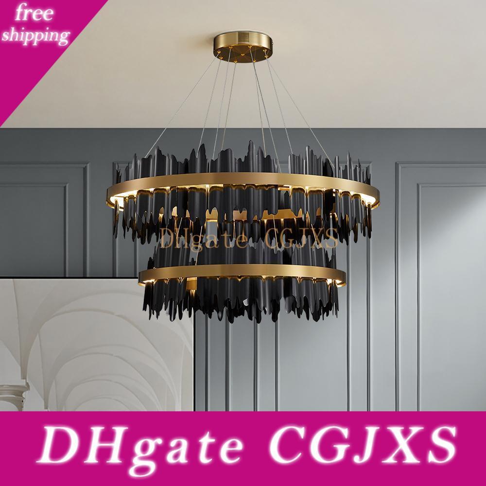 Новый дизайн Black Люстра Освещение для гостиной Luxury стали водить светильник Столовая Спальня Круглый Подвеска Лампы