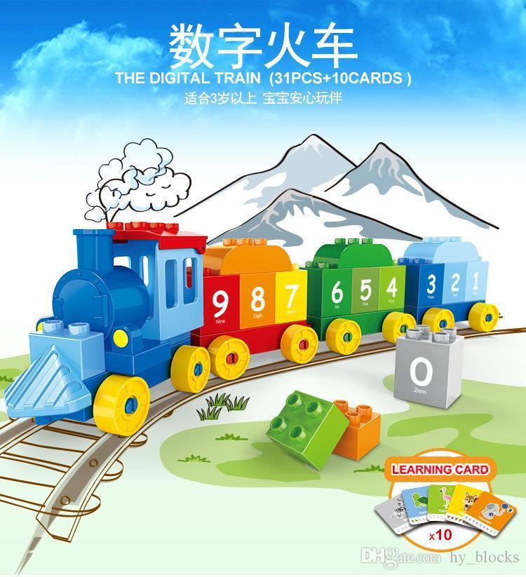31pcs Crianças início brinquedos educativos Big partícula de matemática cognitiva blocos de construção do trem digitais inteligência criativa brinquedos forkids 02