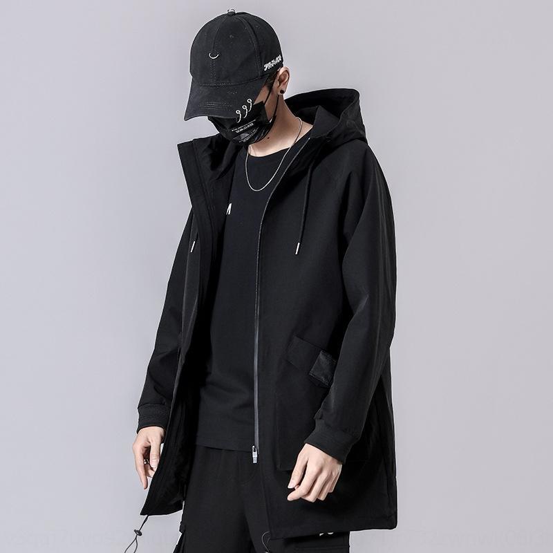 2L0ko жир большой размер весной и осенью мужские плюс плюс свободно средней длины толстовка ветровка UWsdu модный балахон куртка для мужчин