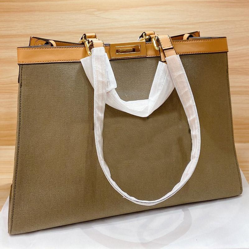 캔버스 쇼핑 가방 대용량 패키지 토트 백 금속 액세서리 패션 F 문자 잠금 열기 고품질 고전적인 여성의 가방을 돌려