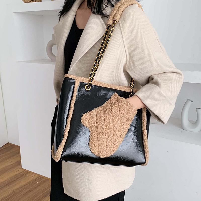Сумка плюшевая PU 2020 женский плечо мессенджер новая зимняя женская сумка сумка кожаная сумка элегантное качество цепи большой дизайнер IAGKQ SSWQL