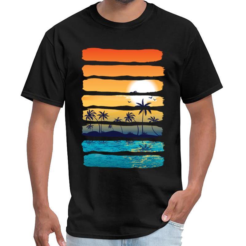 Impreso de Sun del verano Palmera Beach Ocean ciencia artística sello de mujeres de la camiseta del equipo camiseta lema s-5XL