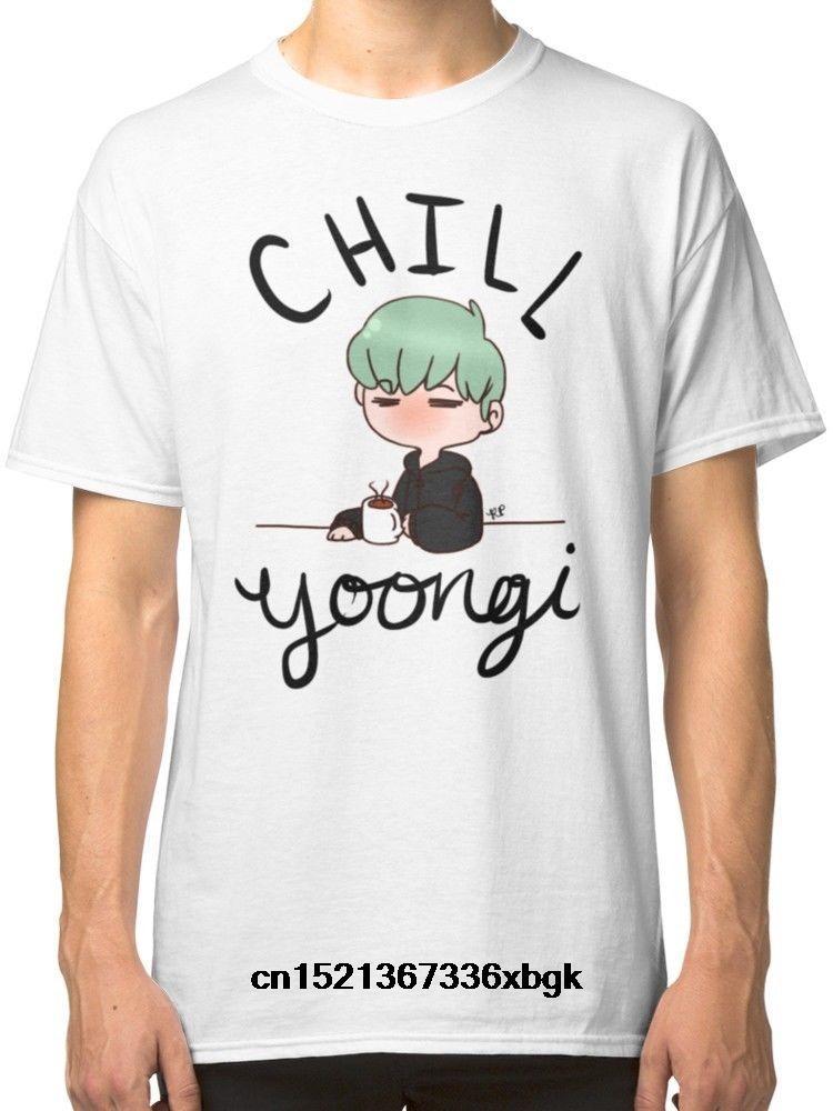 Erkek Hipster Kısa Kollu Tee Erkekler Komik O Yaka Kısa Kollu Pamuk T-Shirt Chill Min Yoongi Beyaz Tees T-Shirt