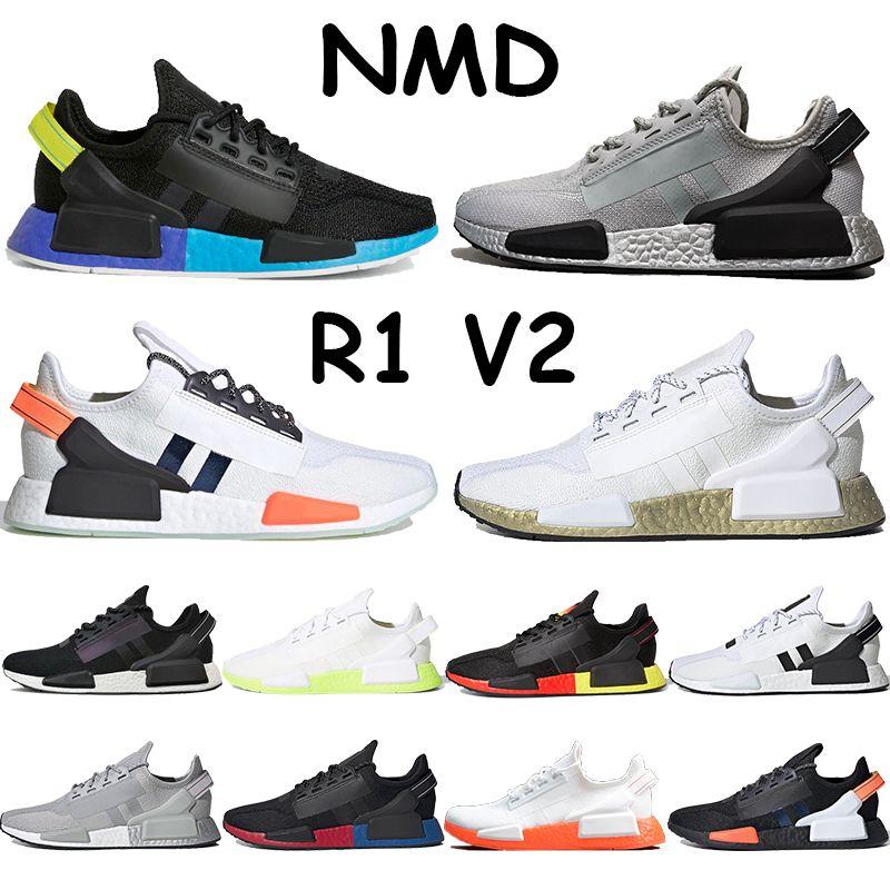جديد nmd عداء الأحذية r1 v2 رجل رياضة أبيض معدني الذهب البرتقالي الأحمر الأزرق الكربون صدمة الأصفر قزح الثلاثي الأسود الرجال النساء المدربين