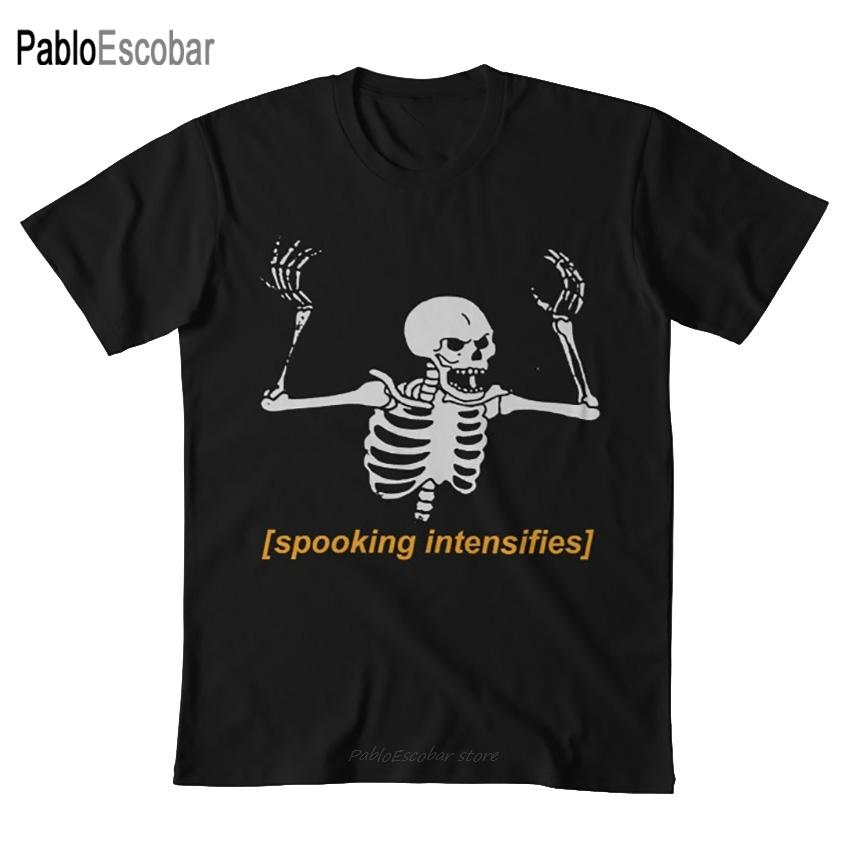 Korkutabilir yoğunlaştırır Ürkütücü Korku İskelet Meme Tişörtlü Spooky Meme Ürkütücü Korkunç İskelet Cadılar Bayramı Ekim Korkunç Cadılar