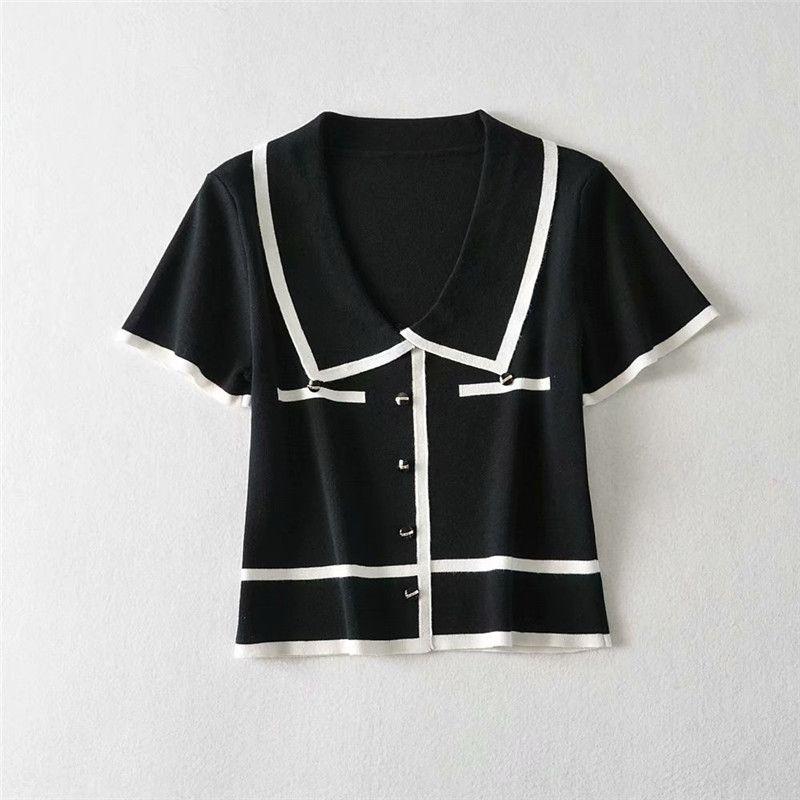 hTZCM поло Летний новый жесткий T- похудение 2020 для вязаных коротких пупочной с короткими рукавами футболки рубашки женщин