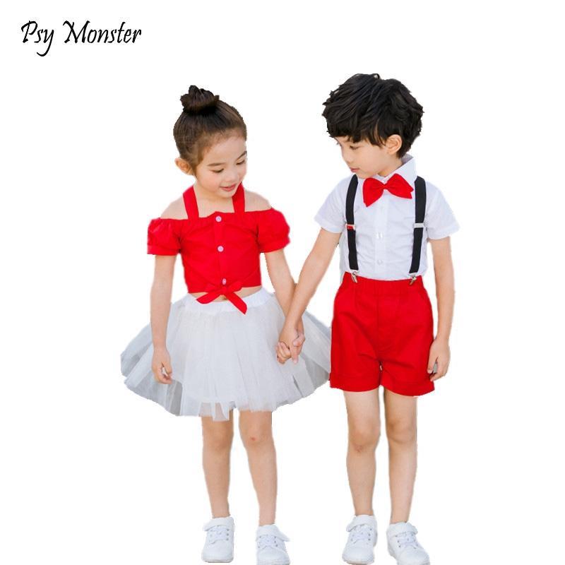 2020 Boys Girls Sport Suit Uniforms British Style School Students Kindergarten Girls Dress Skirt Performance Clothing Set G17
