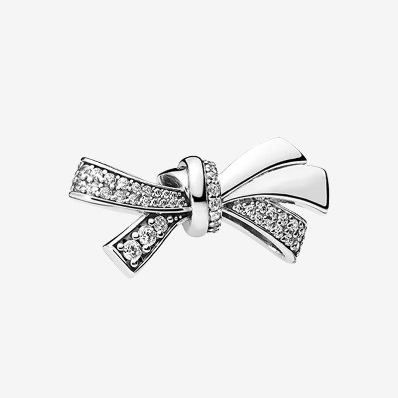 925 스털링 실버 보우 매력 클리어 CZ 팔찌 팔란다 Pandora Bowknot 매력을위한 원래 상자가있는 팔찌 쥬얼리 액세서리