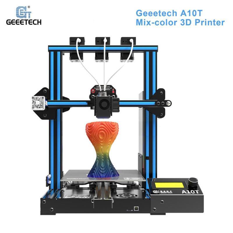 Geeetech A10T Desktop 3D Printer Mix-stampa a colori con GT2560 Control Board Riprendi stampa filamento di rilevazione 220 * 220 * 250 millimetri