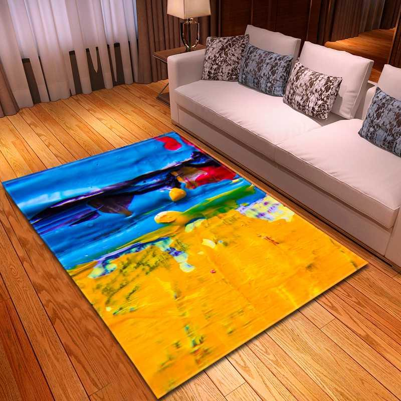 Home Decor Parlor Area Rug Bedroom Rug Individuality Oil Painting Children's Crawling Playmat Bedside Flannel Living Room Carpet