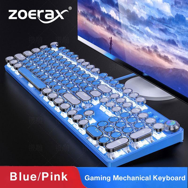 Claviers Zoerax Gaming clavier, rose élégant / bleu clavier mécanique rétro punk de type machine à écrire, rétro-éclairage blanc