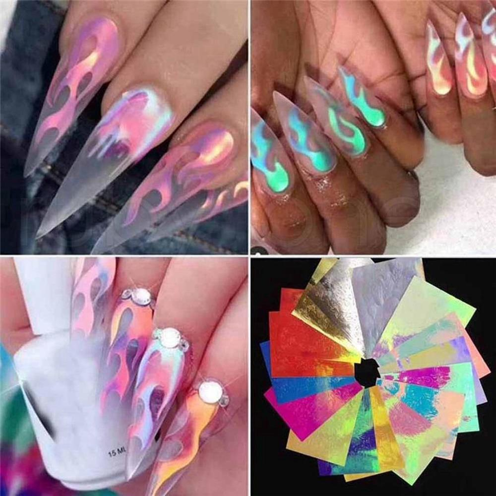 16 pcs prego flama adesivo colorido manicure adesivos laser flama adesivo autocolante de flamme dongle mulheres nail arte flame adesivo ferramentas