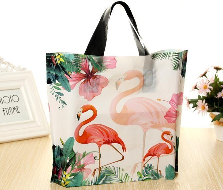 Einkaufen Kleidung Griffe aus Kunststoff Flamingo Hochzeit Bag Plastic Packaging Geschenk Printed Einkaufstasche Aufbewahrungstasche Supplies Partei pp2006 yTHQo