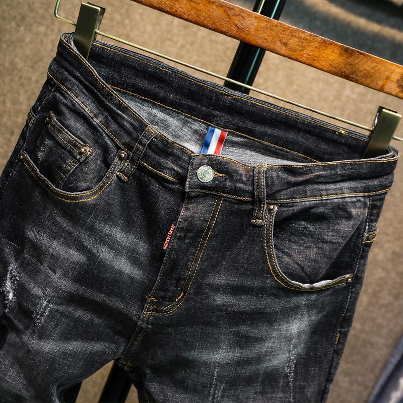XSpFQ High-end da marca de moda de alta-street ajuste pano tecido elástico e calça jeans magro azul carro remendo buraco floral com jeans para homens