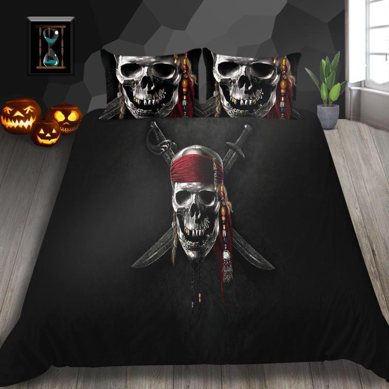Simple Bedding Sets 3D Skull Duvet Quilt Creative Soft Breathable Cover Set Twin Full Queen King Double Super King Bedroom Decort
