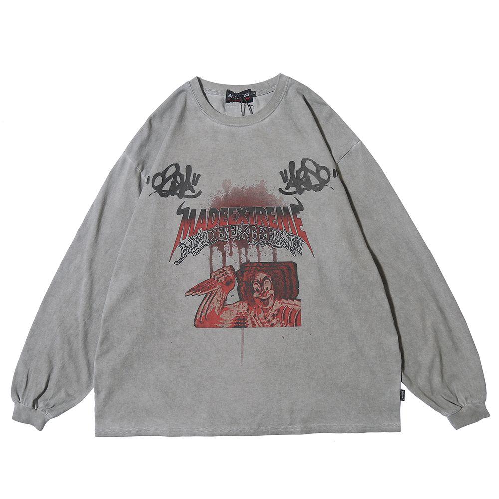 Clown Joker Графический Gothic Tshirt Punk Goth 2020 Весна длинным рукавом Крупногабаритные Футболка Мужская одежда Хип-хоп Streetwear T200818