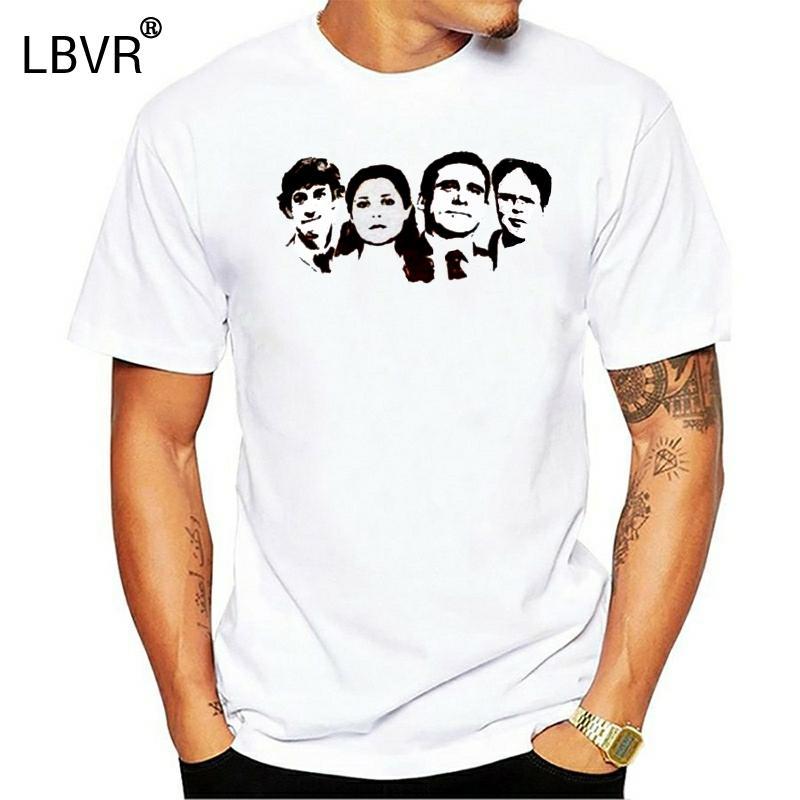 % 100 Pamuk Yepyeni Tişörtler Ofis Cast (Jim Pam Michael Dwight) Erkekler Tişört