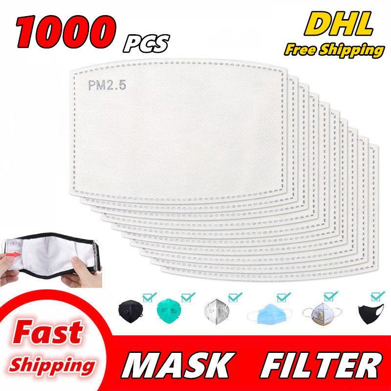 1000 PCS PM2.5 مرشح للقناع مضاد بالضباب الفم أقنعة استبدال تصفية شريحة 5 طبقات غير المنسوجة المنشط تصفية الوجه الكربون قناع طوقا 01