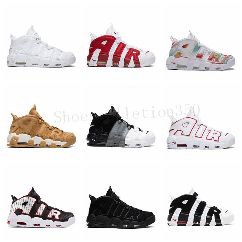 Mais Chegada Nova Uptempo Homens tênis de basquete Zapatos Scottie Pippen Marca preto Sneakers Red Mens Basket Ball Man Sports Shoes BQ5