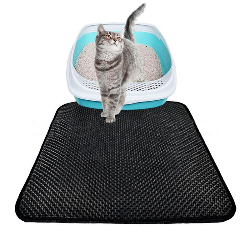 Litter Cat Urijk Mat EVA Double-Layer Litter Cat Mats Waterproof inferior camada preta Bed Supplies Mats Preto Grey