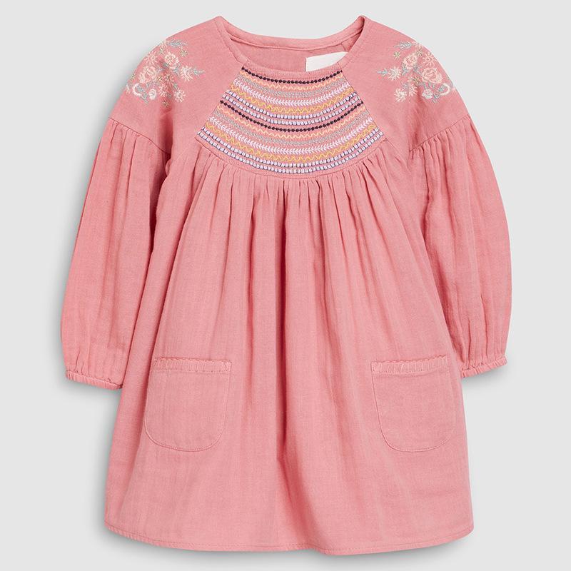 Pequenos Maven 2-7Years 2020 Autumn Bay Meninas Criança de flor Criança Bordados bolso do vestido das crianças das crianças cobre T queda LJ200825 roupas