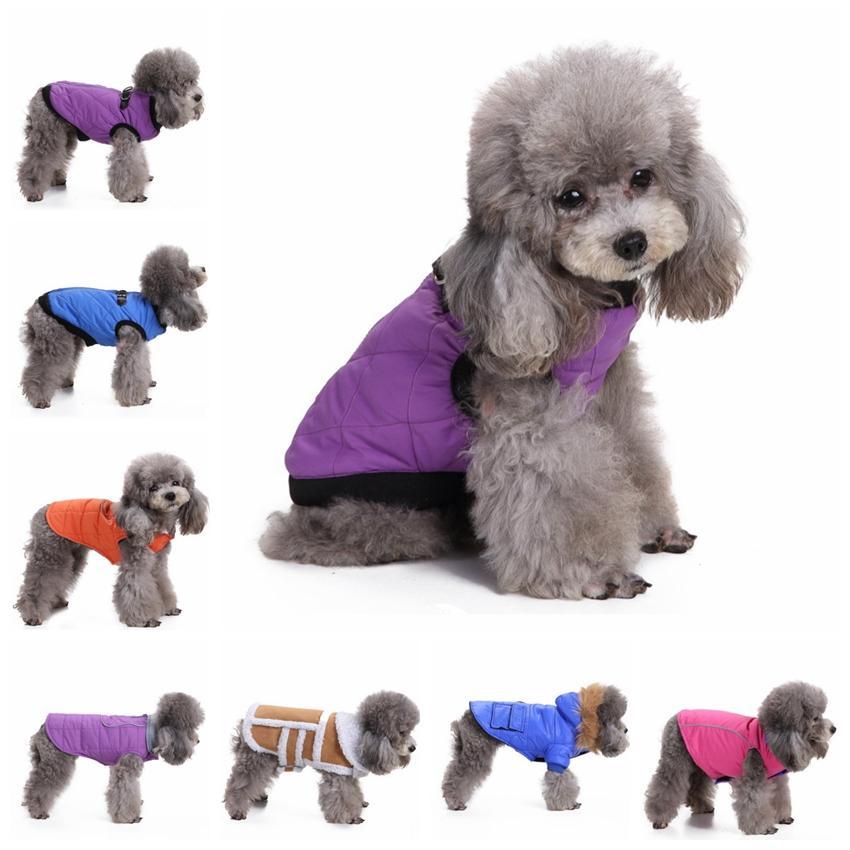 Inverno vestiti del cane Piccolo Cane Zipper giacche calde cani di animale domestico cappotto più spesso accessori per abbigliamento per animali 15 disegni di trasporto YW1865