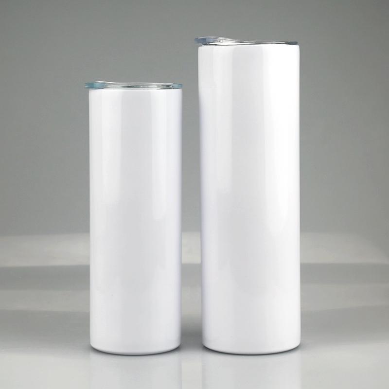 Kapak saman Silindir su şişesi kahve ile 20 oz 30 oz Süblimasyon Düz Skinny Tumbler 20 oz 30 oz paslanmaz çelik boş beyaz sıska fincan