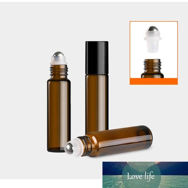 100pcs Viagem / lot 5ml 10ml portátil Âmbar Roll on garrafa de rolo para Rollerball Óleos Essenciais Frasco de Perfume recarregáveis