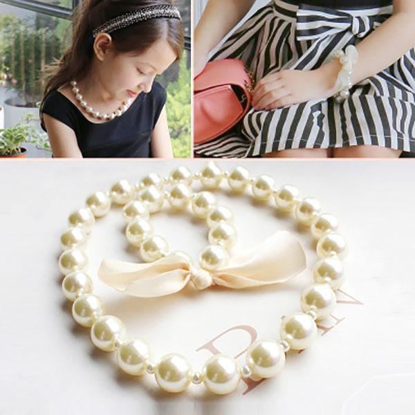 Joyería del collar de niñas Niños Accesorios 2020 nuevo de la manera hermosa perla perla del arco del collar de la pulsera niñas regalo del partido de los niños
