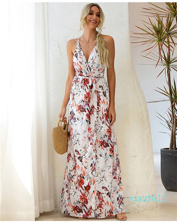 Venta mujeres Vestidos Sexy cuello en V profundo floral del vestido del vendaje de cintura alta moda ocasionales de la playa de Split vestidos sin espalda del tirante de espagueti