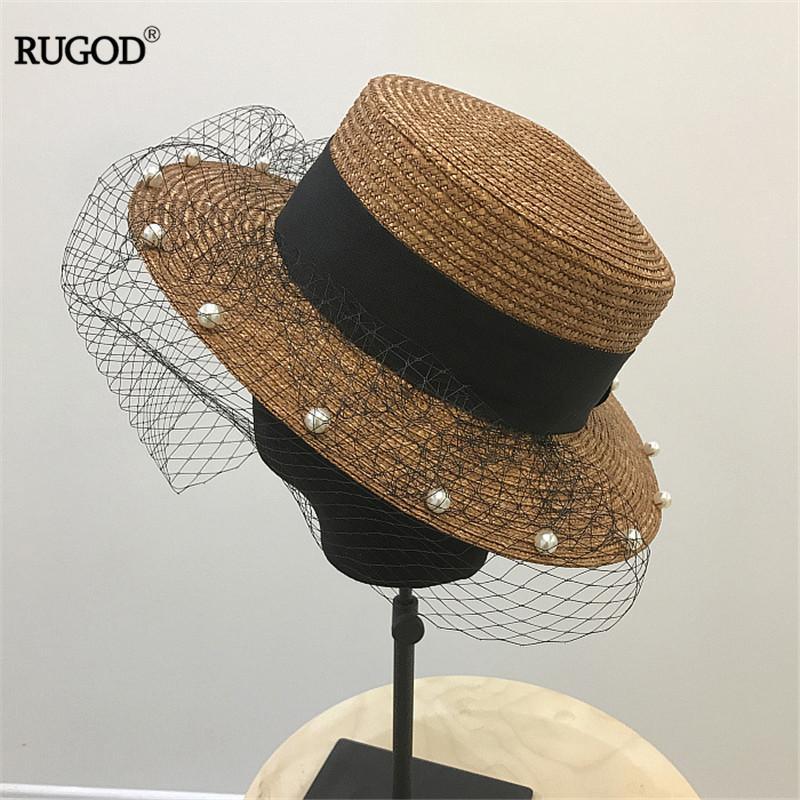 RUGOD 2020 Мода Mesh срощенного Бисероплетения соломенной шляпе Женщина в японском стиле Beach Holiday Sun резистентный Hat Cap Summer