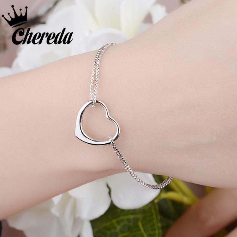 Gioielli Bracciali Chereda cuore semplice braccialetto per le donne Unico geometrica catena braccialetto del partito di compleanno migliore regalo per l'amante Lady