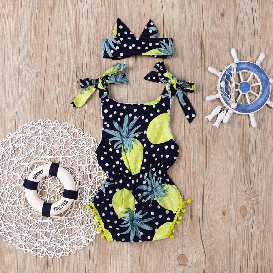 Summer Newborn Infant Girl Floral Tassel Strap Romper Jumpsuit Headband Outfit Set Fashion Baby nice August 15