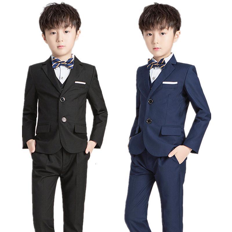 Düğünler Çocuklar Örgün Blazer Yelek Pants 3adet Giyim Seti Piyano Dans Performansı Kıyafetler Çocuklar Klasik Kostüm için Boys Suit