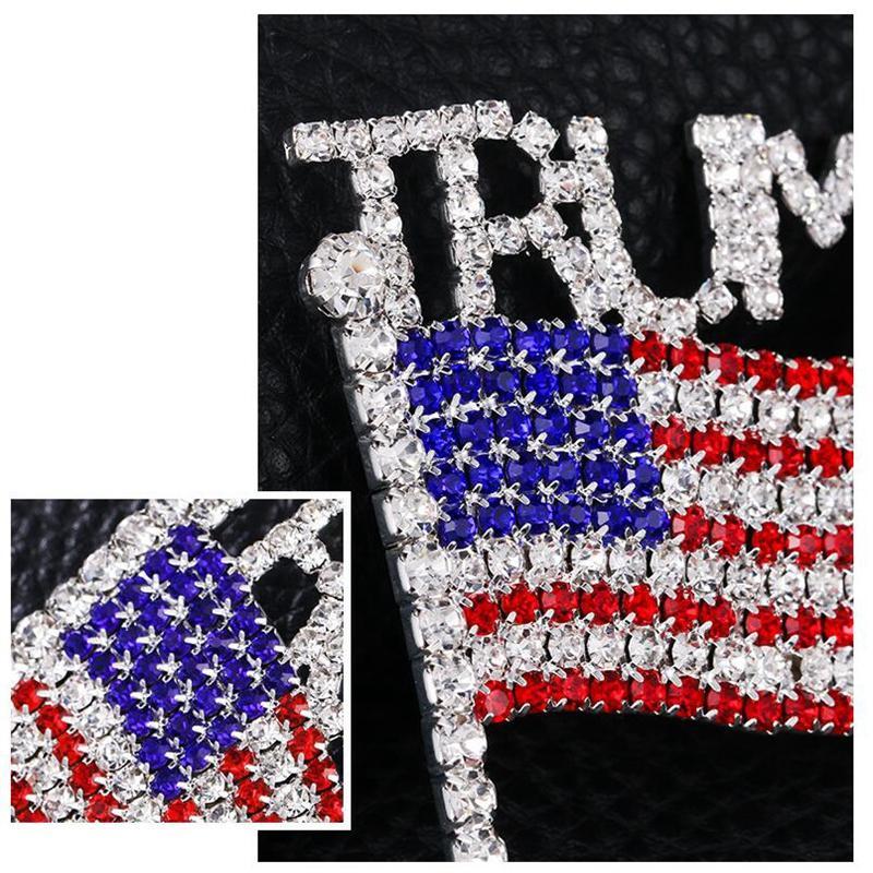 Trump Брошь Pin Алмазная американский флаг Брошь Rhinestone Письмо Trump Значки Кристалл Badge фрак Pins Одежда Ювелирные изделия YYA386