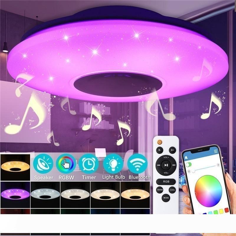 WiFi Потолочная лампа с динамиком Bluetooth, Dimmable, Multicolor, Remote Control, пульт дистанционного управления, 60W Smart потолочный светильник (WiFi + Bluetooth-динамик
