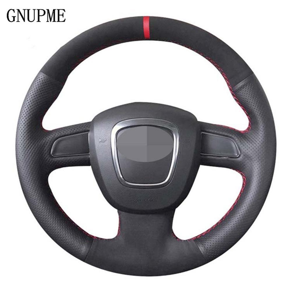 DIY черный Подлинная кожаный руль Suede колеса автомобиля Обложка для Audi A5 2008-2010 A3 (8P) 2008-2013 A6 (C6) A4 (B8) 2008-2010