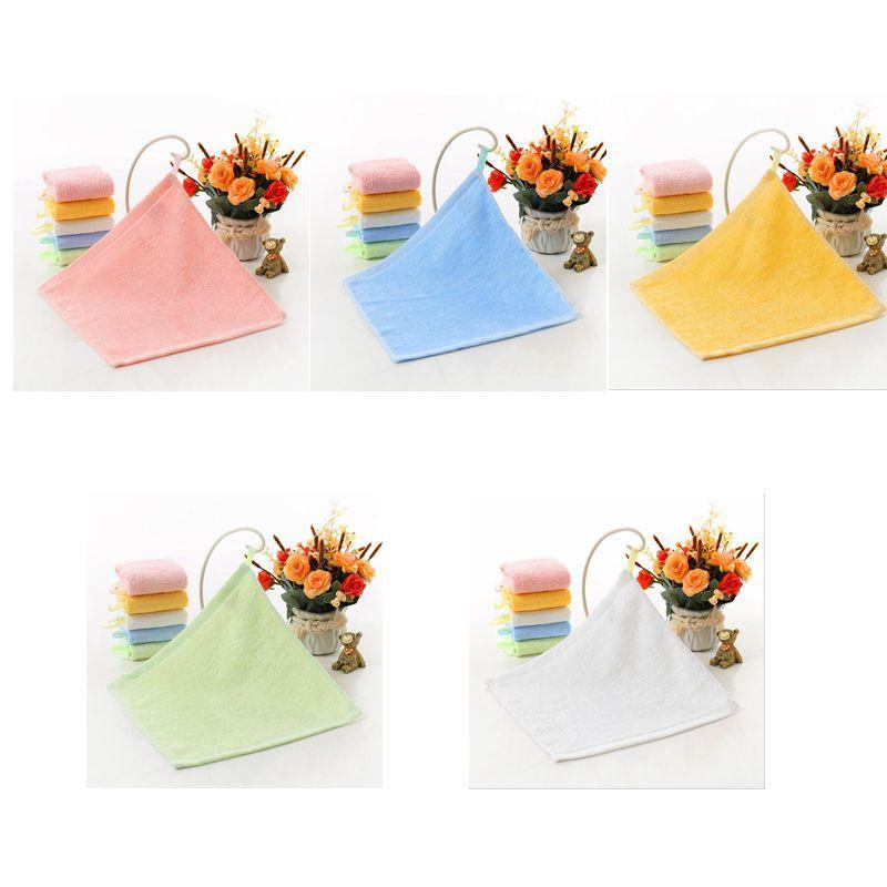 Kindergarten toalha de rosto Kindergarten Mãos Limpando quadrado liso de fibra de bambu quadrado pequeno limpar o rosto Toalhas de mão 25 * 25CM DHC552