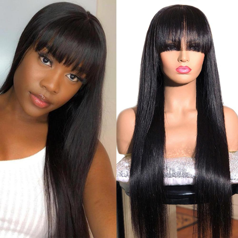 Straight Long Virgin Wig Brazilian Remy Hair Middle Part Human Hair Wigs For Women Natural Color Full Machine Made Wigs With Bangs Sassy Secret Full Lace Wigs Rpg Full Lace Wigs From