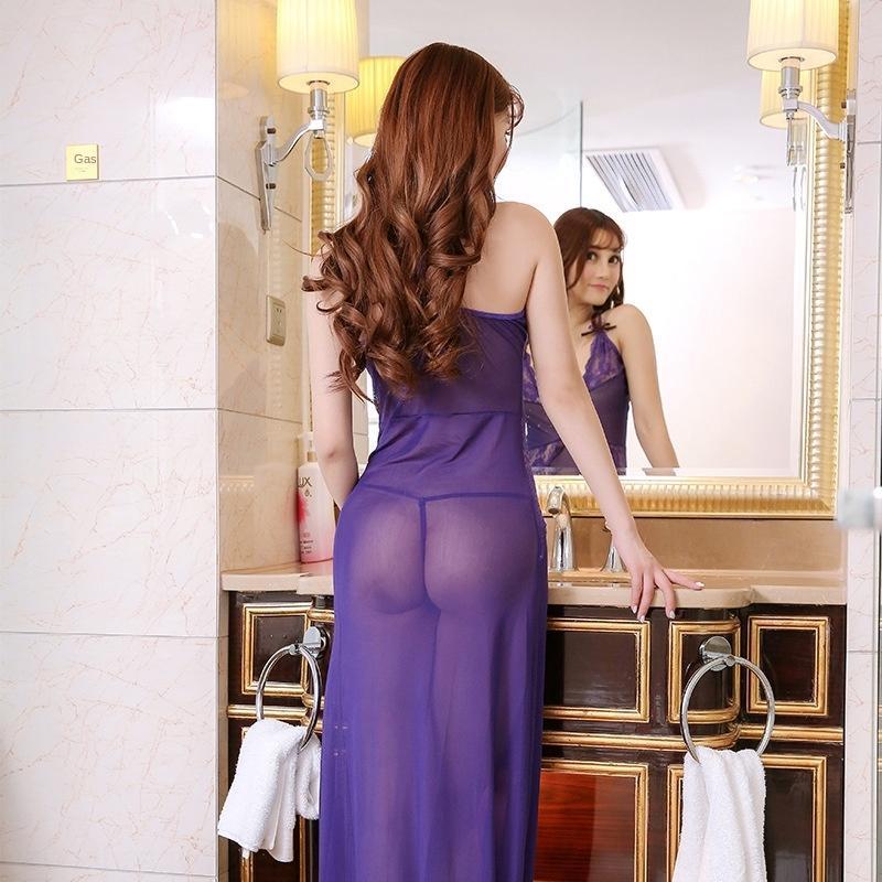 mzHxW Sexy Sexy длинные юбки с глубоким вырезом Sling белье пижамы искушение перспективе пижамы женские сетка подвязка белье 1507
