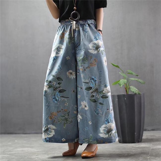 Mujeres Larga Pantalón 2020 Verano Flojo Big Código Impresión Pantalones de piernas anchas Vaquero Ocio Joker Lavado Denim Elástico Pantalones de cintura