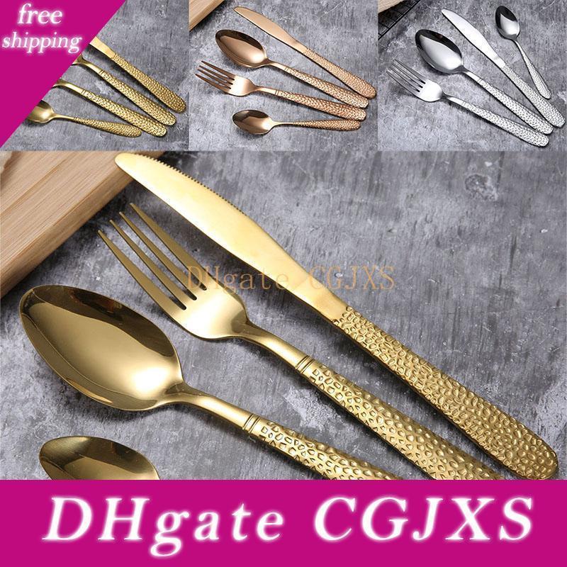 Acciaio inossidabile oro Dinnerware Set Spoon Fork Knife Set posate Cena bistecca zuppa caffè cucchiaio del gelato utensile da cucina Dhl WX9 -1155