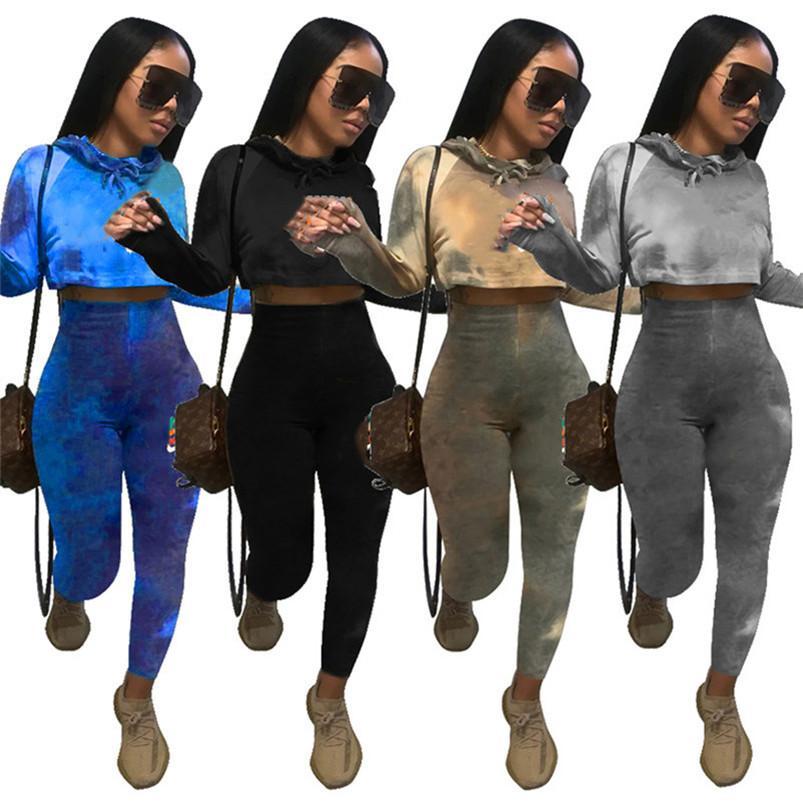 Femmes Sportswear à manches longues Sweat à capuche Sweats à capuche 2 pièces Ensemble de concepteurs Sweat-shirt Sweat-shirt Sweatshirt Femmes Tops KLW4847