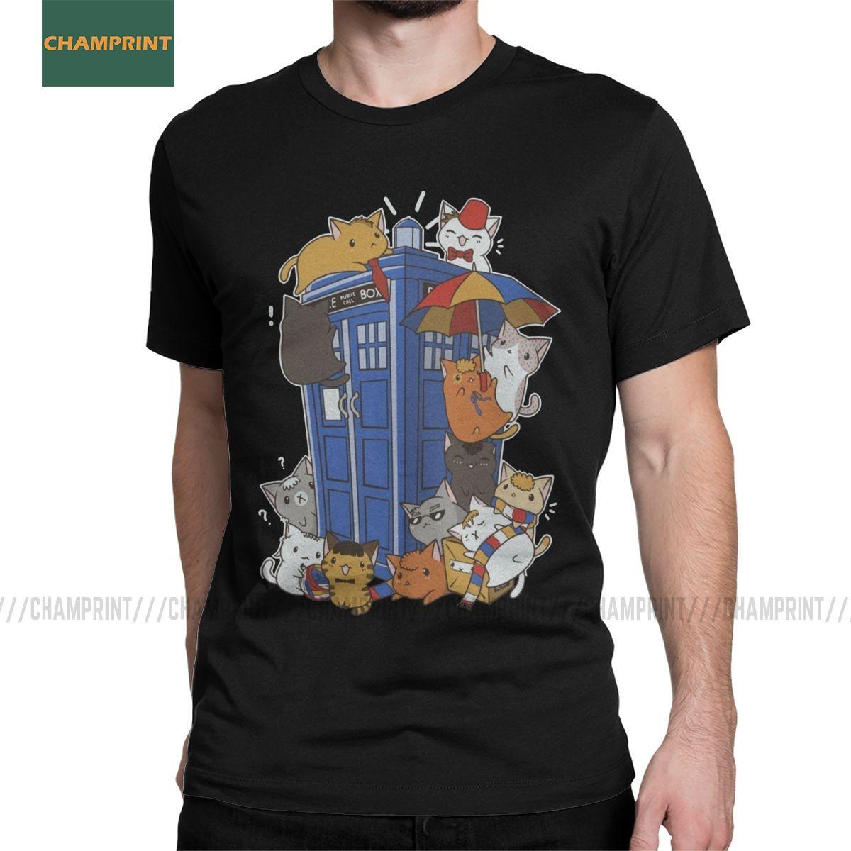 Gatinho dos homens Quem Doctor Who T Shirt Tardis Gallifrey Timelord Caixa azul puro algodão tops de manga curta T Camisetas 4XL 5XL