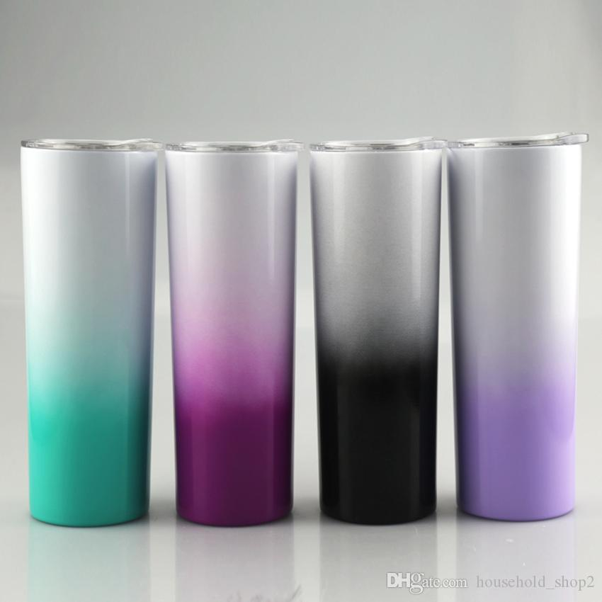 2020 New arrival Gradient Skinny Tumbler 20oz Stainless Steel Stragiht Cups Vacuum Insulated Straight Cup with Lids A10