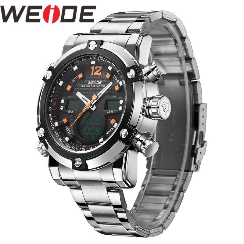 Relógios dos homens relógio de pulso WEIDE Men Watch Relogio Masculino Reloj Hombre Back Light Time Zone Sport Watch Quartz Digital