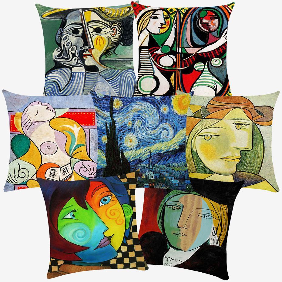 11 Styles Pablo Picasso célèbre dessin Peintures Van Gogh Cushion Covers étoilée Coussin Nuit couverture en polyester blanc Taie