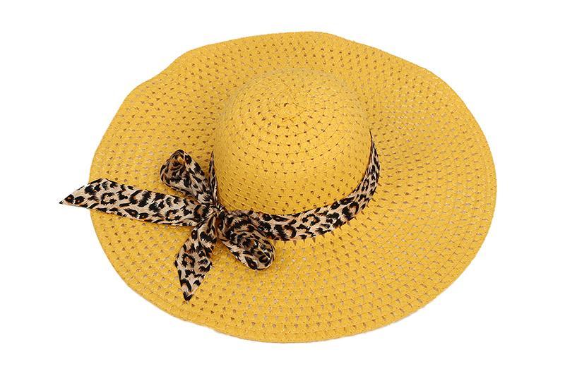 Gelber Sommer Exquisite Leopard Bandbowknot verzierte Perforierte Sonnenhut für Frauen